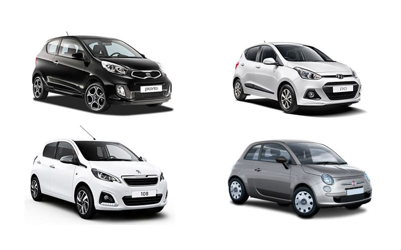 Picture of four mini rental cars