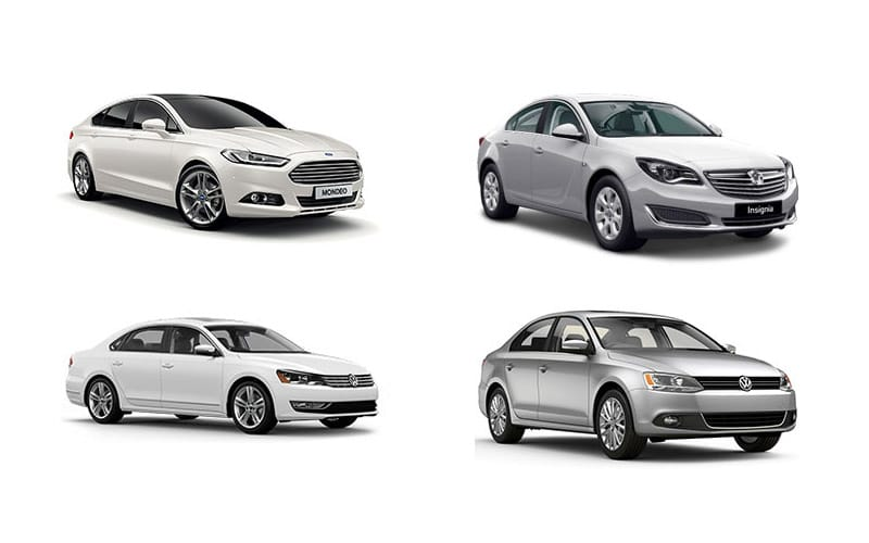 Standard Car Tire Diameter, Top Row Left To Right Ford Mondeo Vaxuhall Insignia Bottom Row Left To Right Volkswagen Passat Volkswagen Jetta, Standard Car Tire Diameter